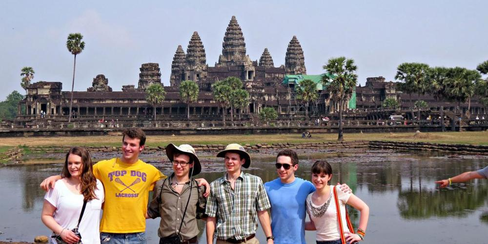 The Sustainable Development and CSB teams posing in front of the Reflection Pool at Angkor Wat